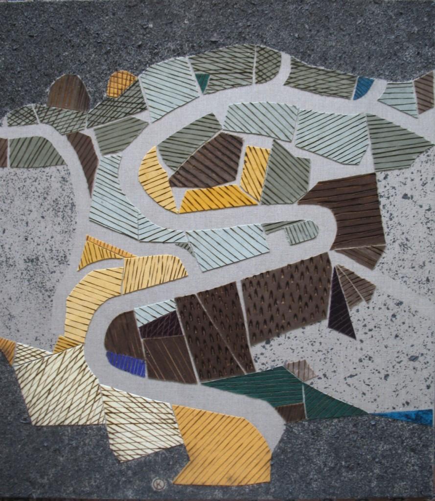 Svatopluk Klimeš - Bike Line, 90x80 cm, canvas, velvet, fire, ash, 2011